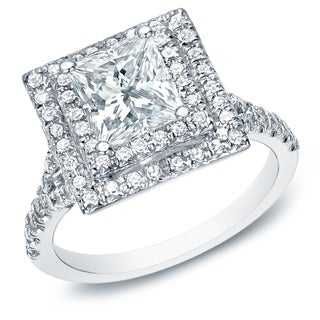 Auriya 14k White Gold 2 1/2ct TDW Certified Square Princess-Cut Diamond Halo Engagement Ring