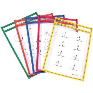 "Reusable Dry Erase Pocket 6""X9"" 10/Pkg-Assorted Primary Colors"
