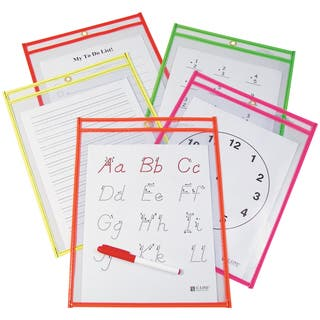 """Reusable Dry Erase Pocket 9""""X12"""" 10/Pkg-Assorted Neon Colors