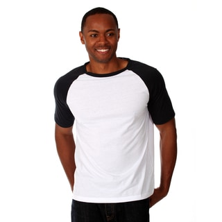 Men's Black and White Cotton Raglan T-shirt