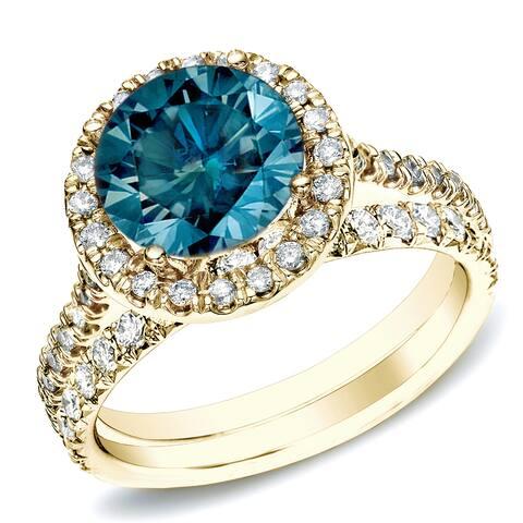 Auriya 14k Gold 1ctw Round Blue Diamond Halo Engagement Ring Set