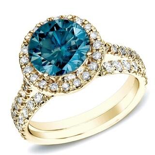 Auriya 14k Gold 1ct TDW Round Blue Diamond Halo Engagement Ring Bridal Ring Set