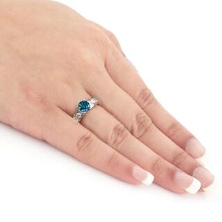 Auriya 14k Gold 1ct TDW Blue Round Diamond Ring (SI1-SI2)