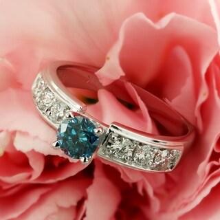 Auriya 14k Gold 1ct TDW Blue Round Diamond Ring