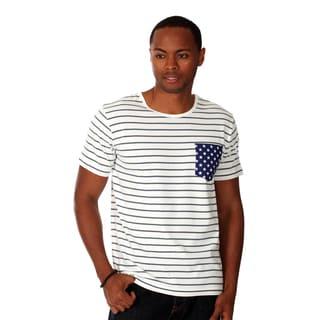 Oxymoron Men's White Cotton Contrast-pocket T-shirt