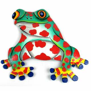 Hand Painted Metal Bullfrog Red Spots Design (Haiti)