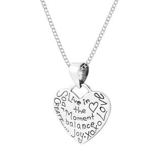 Handmade 'Live in the Moment' Heart Tag .925 Silver Necklace (Thailand)