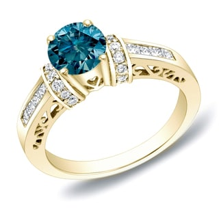 Auriya 14k Gold 1 1/4 ct TDW Blue Diamond Engagement Ring With Heart (SI1-SI2)