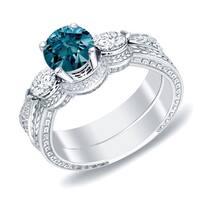 Auriya 14k Gold 4/5ct TDW Vintage 3-Stone Blue Diamond Engagement Ring Set