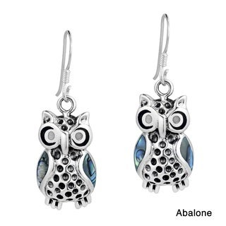 Mystic Owl Colored Enamel Inlay .925 Silver Earrings (Thailand)