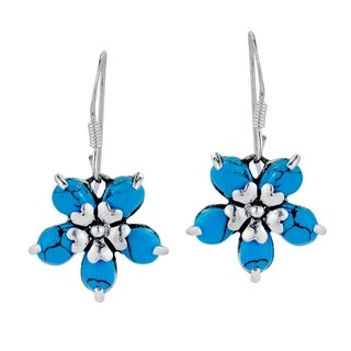 Handmade Floral Love Blue Turquoise .925 Sterling Silver Earrings (Thailand)