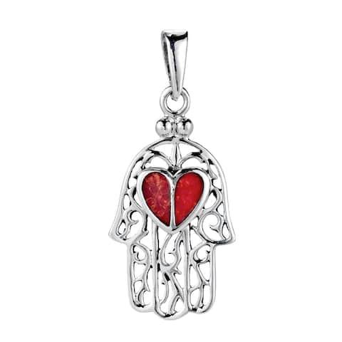 Handmade Heart Hand of Hamsa Stone Inlay .925 Sterling Silver Pendant (Thailand)