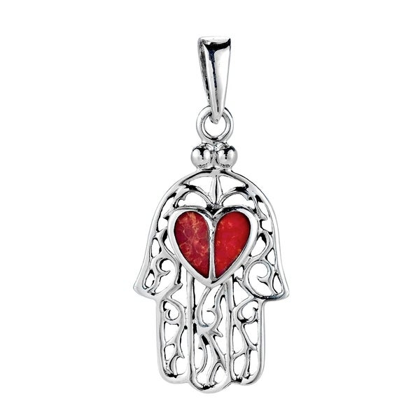 Handmade Heart Hand of Hamsa Stone Inlay .925 Sterling Silver Pendant (Thailand). Opens flyout.