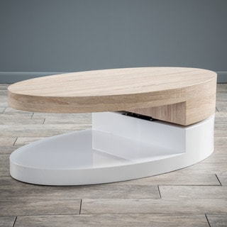 Christopher Knight Home Large Oval Mod Rotatable Coffee Table