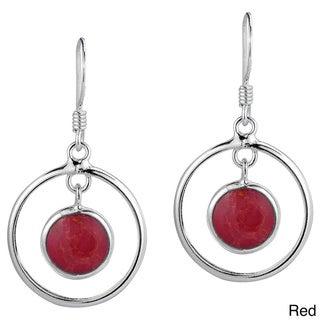 Handmade Modern Circles Stone Drop .925 Silver Dangle Earrings (Thailand)