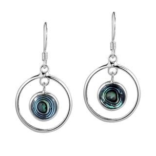 Handmade Modern Circles Stone Drop .925 Silver Dangle Earrings (Thailand)