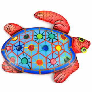 Hand Painted Metal Turtle Tropical Design , Handmade in Haiti