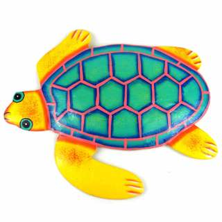 Hand Painted Metal Turtle Yellow and Teal Design (Haiti)