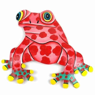 Hand Painted Metal Bullfrog Pink Spots Design (Haiti)
