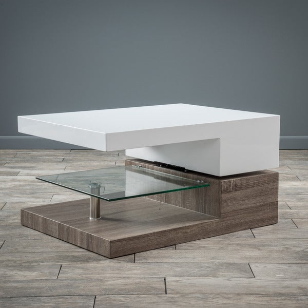 Small Rectangular Mod Coffee Table with Glass by Christopher Knight Home. Opens flyout.