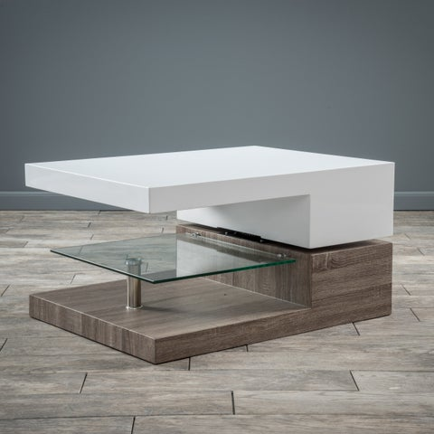 Small Rectangular Mod Coffee Table with Glass by Christopher Knight Home