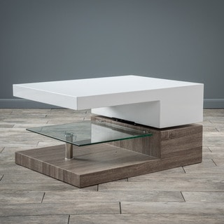 Christopher Knight Home Small Rectangular Mod Coffee Table with Glass