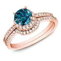 Auriya 14k Rose Gold 1ct TDW Blue Diamond Halo Engagement Ring Set
