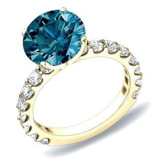 Auriya 14k Gold 2ct TDW Blue Round Diamond Ring