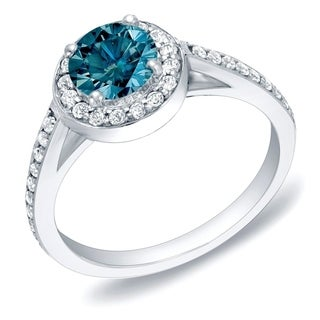 Auriya 14k Gold 1ct TDW Blue Round Diamond Engagement Ring