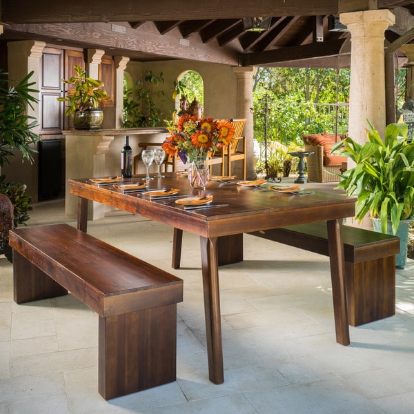 Greenway 3 Piece Wood Dining Set By Christopher Knight Home