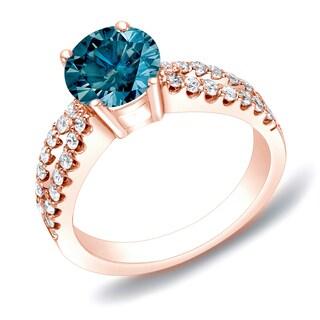 Auriya Modern 1 Carat TW Split Shank Blue Diamond Engagement Ring 14k Rose Gold