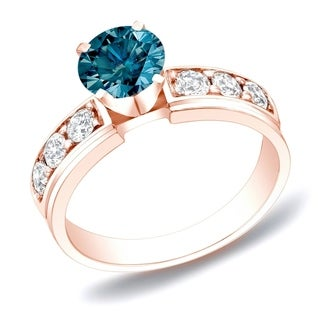 Auriya 14k Rose Gold 1ct TDW Blue Diamond Engagement Ring