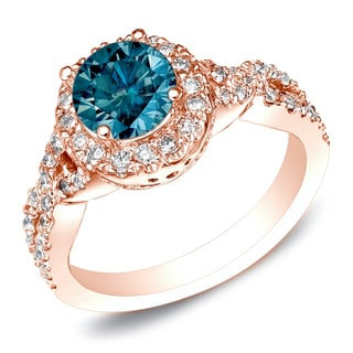 Auriya 14k Rose Gold 1ct TDW Blue Round Cut Diamond Ring (SI1-SI2)