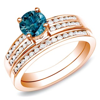 Auriya 14k Rose Gold 1ct TDW Blue Diamond Bridal Ring Set