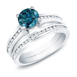 Auriya 14k Gold 1ct TDW Blue Diamond Bridal Ring Set (SI1-SI2)