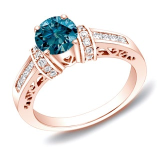 Auriya 14k Rose Gold 1 1/4 ct TDW Blue Diamond Solitaire Engagement Ring with Heart Cut-Out