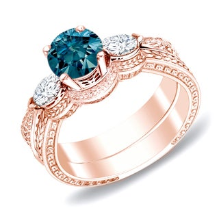 Auriya 14k Rose Gold 4/5ct TDW Blue Diamond Bridal Ring Set