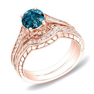 14k Rose Gold 1ct TDW Round Blue Diamond Engagement Ring Set by Auriya