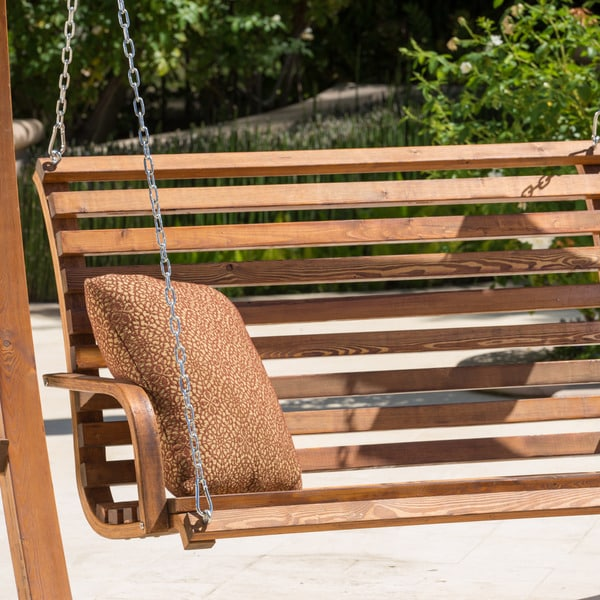 Christopher Knight Home Tulip Outdoor Wood Swinging Loveseat   Free  Shipping Today   Overstock.com   16649055