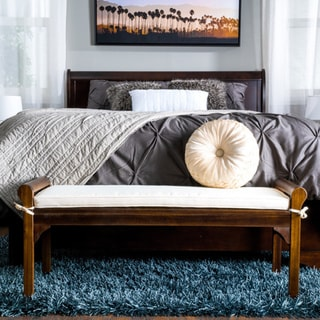 Nelson Rustic Acacia Wood Bench with Cushion by Christopher Knight Home