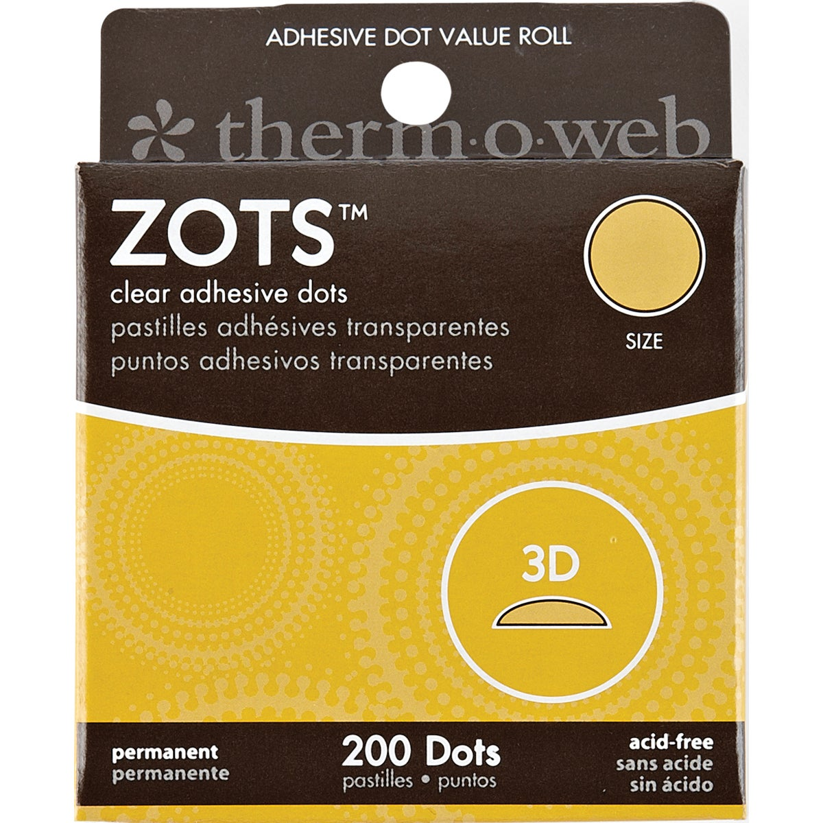 """Therm O Web Zots Clear Adhesive Dots-3D 1/2""""X1/8"""" Thick 2..."""