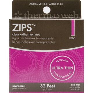 "Zips Clear Adhesive Lines-Ultra Thin 1/8""X1/64"" Thick 32'/Pkg"