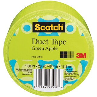 Scotch Solid Color Duct Tape 1.88:x20yd-Green Apple