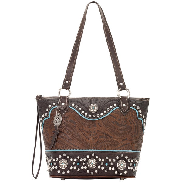 American West Hand Tooled Two Tone Brown And Turquoise Leather Handbag
