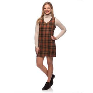 Live A Little Women's Brown Plaid Zip Front Dress|https://ak1.ostkcdn.com/images/products/9466372/P16649401.jpg?impolicy=medium