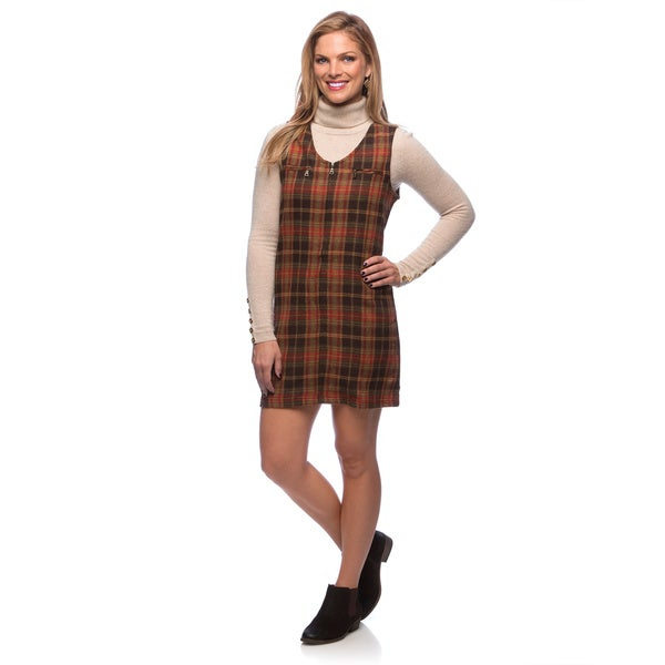 Live A Little Women's Brown Plaid Zip Front Dress