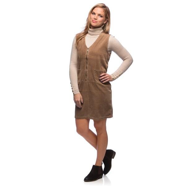 Live A Little Women's Tan Corduroy Zip-front Dress