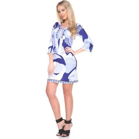 White Mark Women's 'Belinda' Abstract Print Bell-sleeve Dress