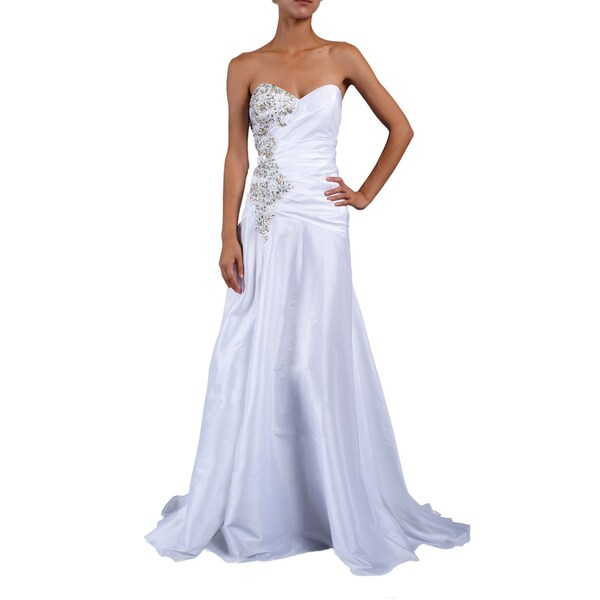 DFI Women's Iridescent Rhinestone-trim Strapless Evening Gown