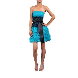 DFI Women's Strapless Lace-waist Evening Dress